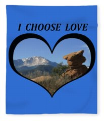 I Chose Love With A Joyful Dancer And Pikes Peak In A Heart Fleece Blanket