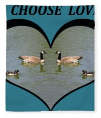 I Choose Love With A Spoonbill Duck And Geese On A Pond In A Heart Fleece Blanket