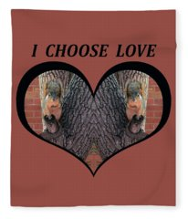 I Chose Love With Squirrels Hands On Hearts Fleece Blanket