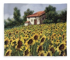 I Girasoli Nel Campo Fleece Blanket