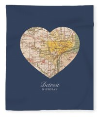 I Heart Detroit Michigan Vintage City Street Map Americana Series No 001 Fleece Blanket