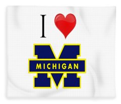 I Love Michigan Fleece Blanket