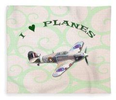 I Love Planes - Hurricane Fleece Blanket