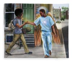 I Walk With Angels Fleece Blanket