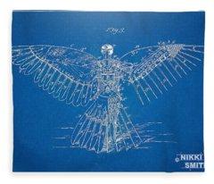 Icarus Human Flight Patent Artwork Fleece Blanket