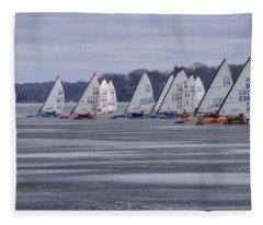 Ice Boat Racing - Madison - Wisconsin Fleece Blanket