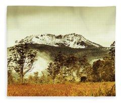 Ice Covered Mountain Panorama In Tasmania Fleece Blanket