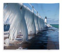 Ice On Manistee Pierhead Light Fleece Blanket