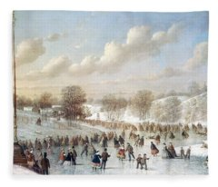 Ice Skating, 1865 Fleece Blanket