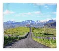 Iceland Church At The End Of A Long Road Fleece Blanket