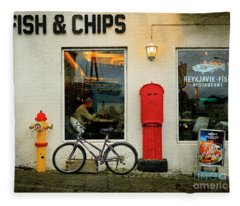 Iceland Fish And Chips Bicycle Fleece Blanket