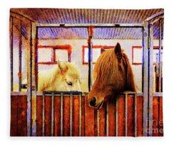Icelandic Horses Of Hester-stables 3 Fleece Blanket