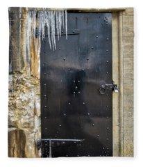 Icicles And Textures At The Bunker Door Fleece Blanket