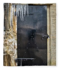 Icicles And Textures At The Bunker Door Fleece Blanket