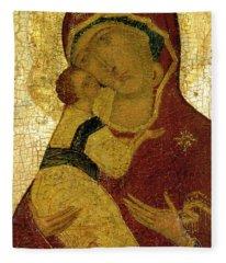 Icon Of The Virgin Of Vladimir Fleece Blanket