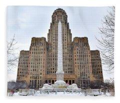 Iconic Buffalo City Hall In Winter Fleece Blanket