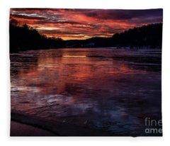 Icy Dawn On The Lake Fleece Blanket