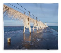 Icy Manistee Pierhead Lighthouse Fleece Blanket