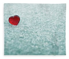Icy Red Heart Fleece Blanket