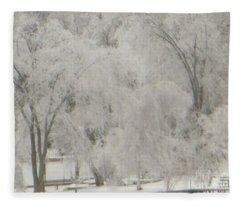 Icy Trees Fleece Blanket