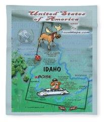 Idaho Fun Map Fleece Blanket