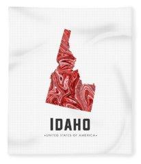 Idaho Map Art Abstract In Red Fleece Blanket