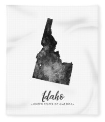 Idaho State Map Art - Grunge Silhouette Fleece Blanket
