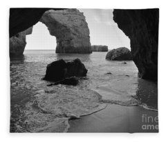 Idyllic Cave In Monochrome Fleece Blanket