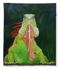 Iguana Dude Fleece Blanket