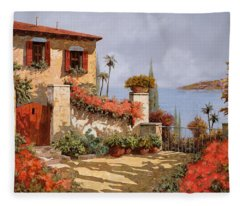 Il Giardino Rosso Fleece Blanket