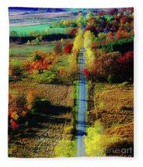 Illinois Country Road Tree Top Sunset Fall  Fleece Blanket