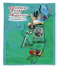 Illinois Fun Map Fleece Blanket