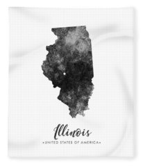 Illinois State Map Art - Grunge Silhouette Fleece Blanket
