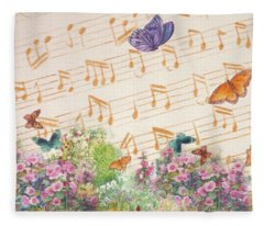 Illustrated Butterfly Garden With Musical Notes Fleece Blanket