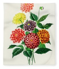 Illustrated Flowers Dahlia Fleece Blanket