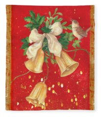 Illustrated Holly, Bells With Birdie Fleece Blanket