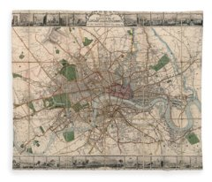 Illustrated Plan Of London And Its Environs - Map Of London - Historic Map - Antique Map Of London Fleece Blanket