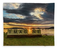 Imagine Sunrise Waterscape Over The Bay Fleece Blanket