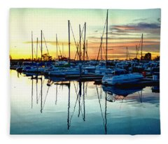 Impressions Of A San Diego Marina Fleece Blanket
