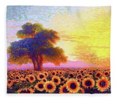 In Awe Of Sunflowers, Sunset Fields Fleece Blanket