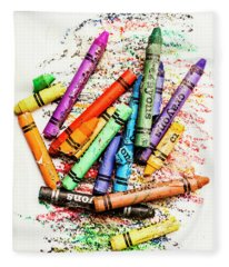 In Colours Of Broken Crayons Fleece Blanket