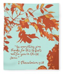 In Everything Give Thanks Fleece Blanket