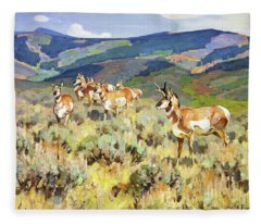 In The Foothills - Antelope Fleece Blanket