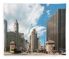 In The Middle Of Wacker And Michigan Fleece Blanket