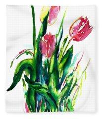 In The Pink Tulips Fleece Blanket
