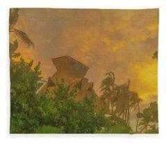 Incoming Storm On Playa Diamante Acapulco Fleece Blanket