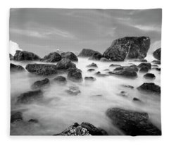 Indian Beach, Ecola State Park, Oregon, In Black And White Fleece Blanket