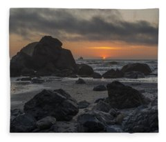 Indian Beach Sunset Fleece Blanket