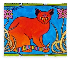 Indian Cat With Lilies Fleece Blanket