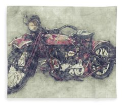 Indian Chief 1 - 1922 - Vintage Motorcycle Poster - Automotive Art Fleece Blanket